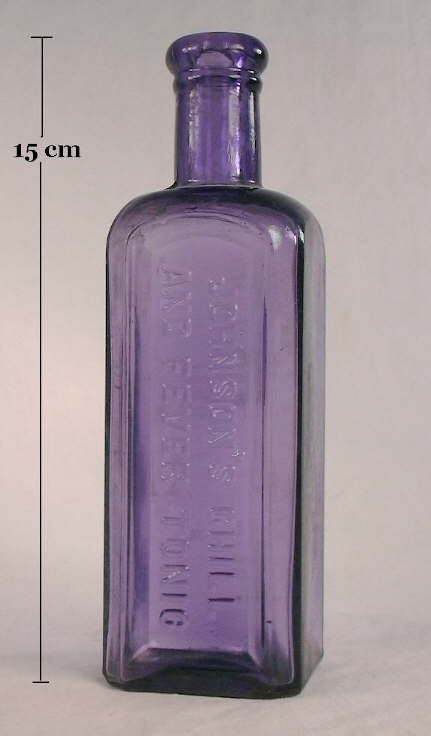 johnsons chill tonic bottle in deep amethyst color click to enlarge colorless glass - Colored Glass