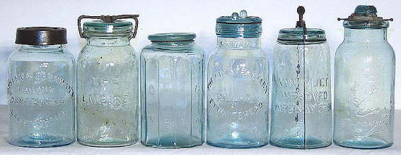 Mid to late 19th century unusual fruit jar closures; click to enlarge.
