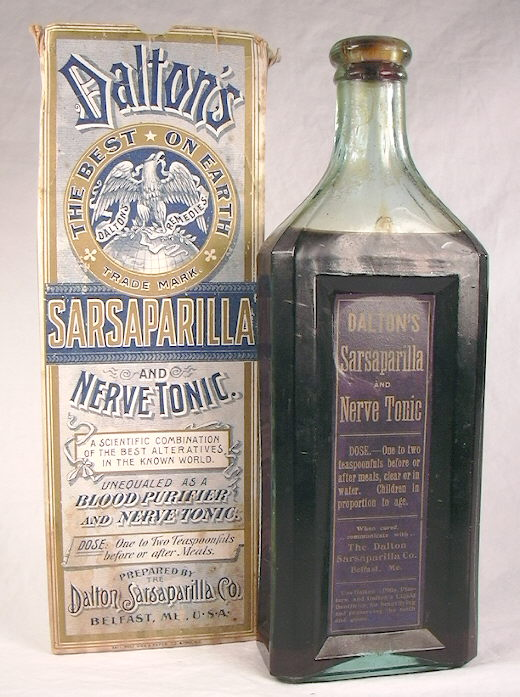 To the right: Late 19th century sarsaparilla with original box; click to  enlarge.