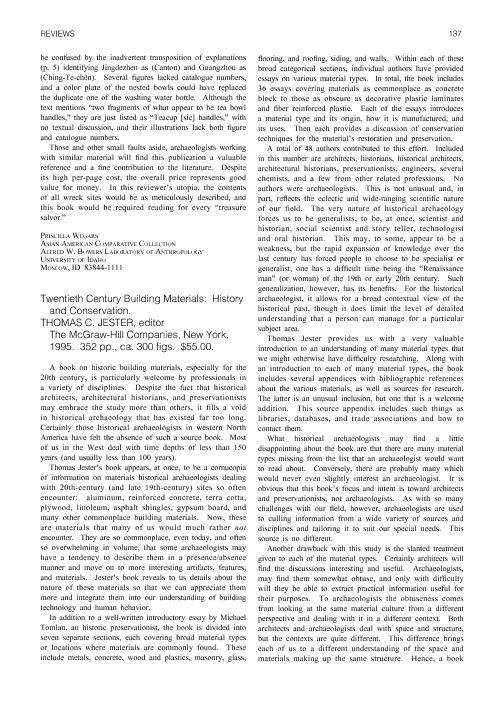 Twentieth Century Building Materials History And