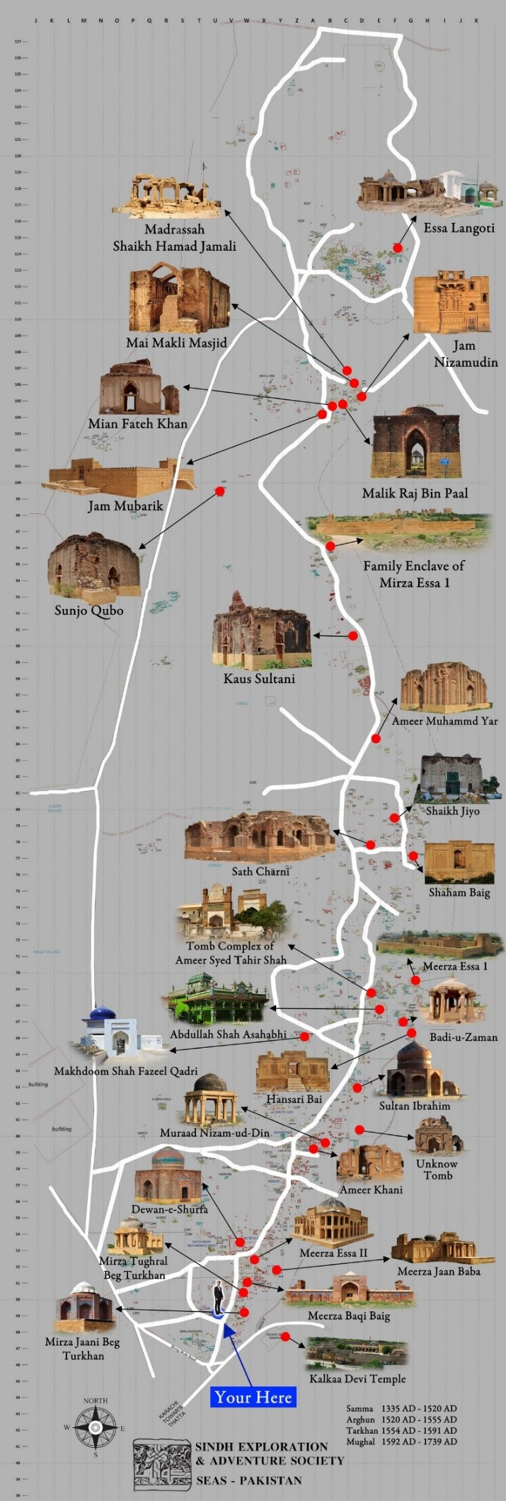Makli Site Map contained some of its important structures